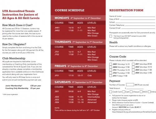Register Now for Junior Tennis Coaching – Autumn Term 2017